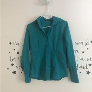 New York & Company Teal Stretch button up.